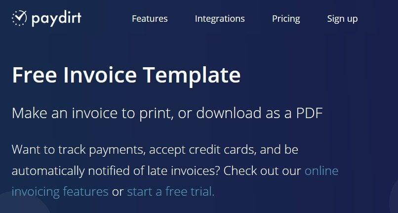 paydirt invoicing portal